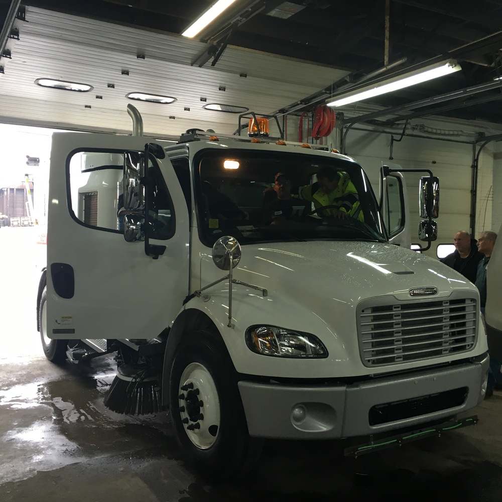 New street sweeper arriving at the Street Department HQ.