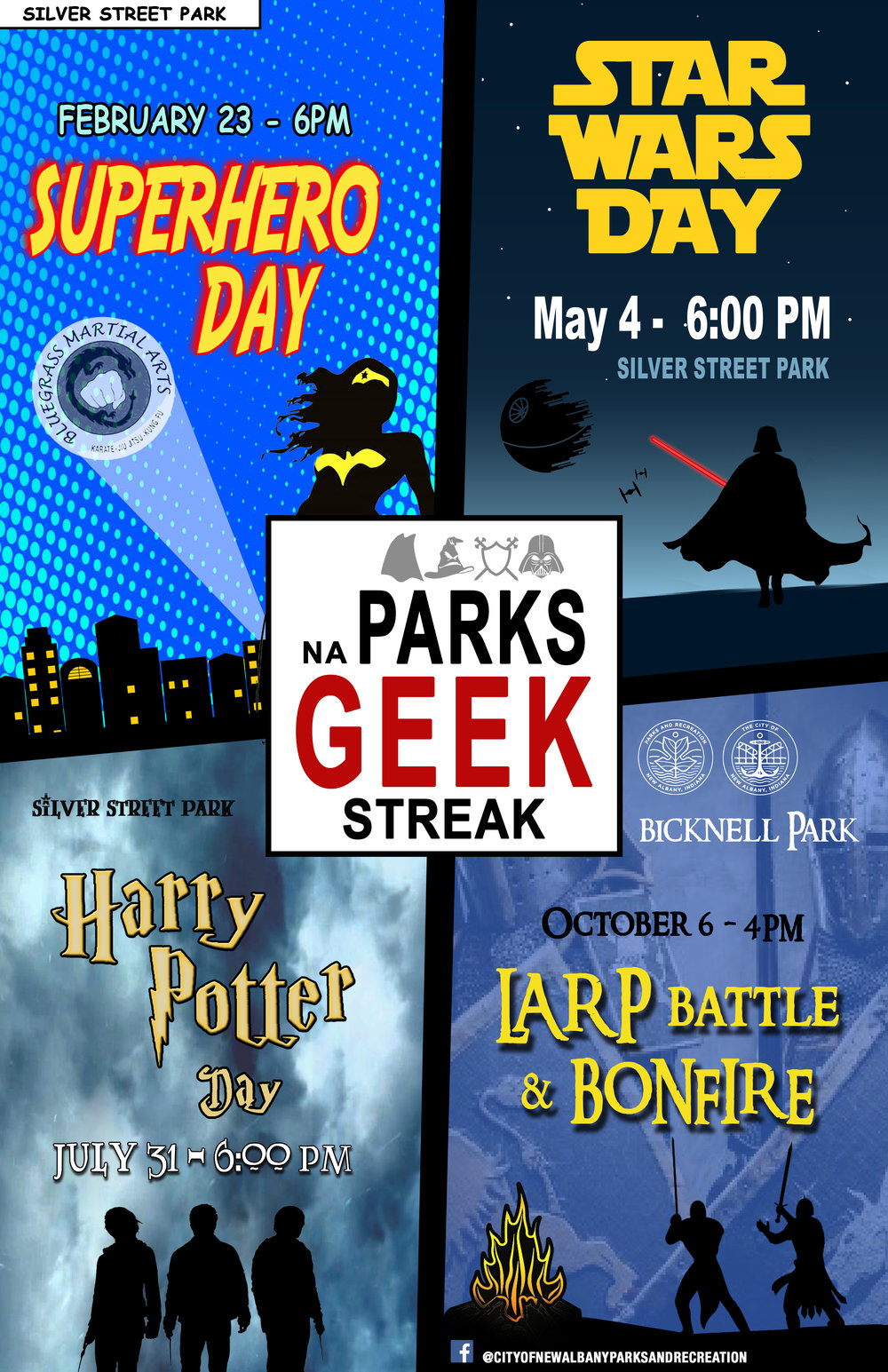 Geek Streak 2018 - Become a Superhero.Learn the ways of the Force.Go through the Sorting Hat Ceremony.Fight off evil orcs and wizards.Unleash your inner-geek with with this event series tailored to comic, fantasy, and science fiction fans. These family-friendly events are designed to share some of these classic stories with the next generation of kids.All events are free and open to the public.For any questions about these events, please call 812-949-5448.