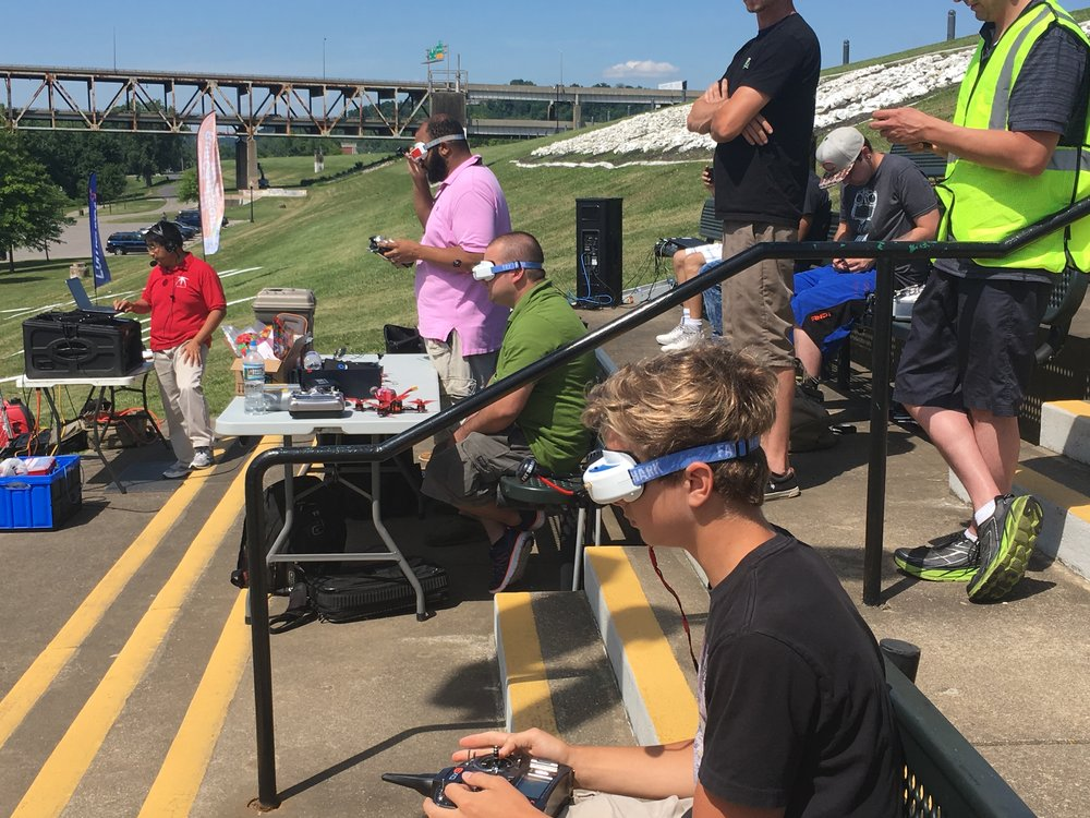 Pilots compete at the 2017 Drone Day at the Riverfront Amphitheater.