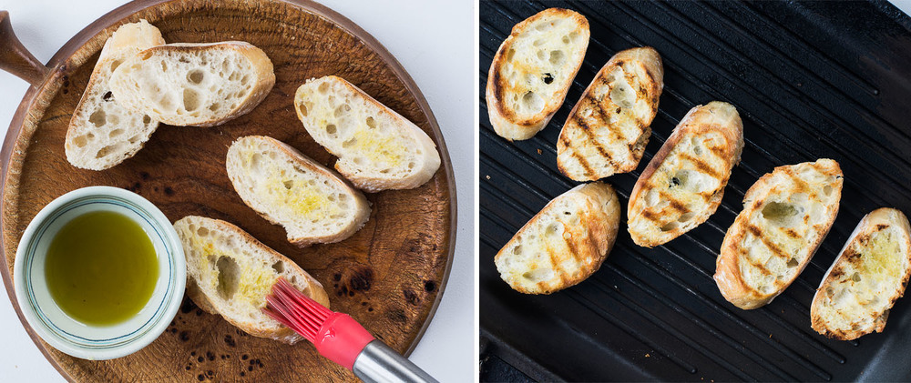 Left: Brush the bread slices with olve oil. Right: Crisped up bread on grill pan