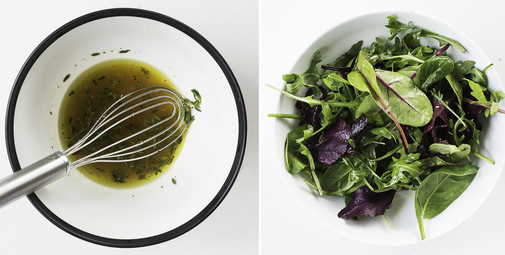 Left: The salad dressing, Right: Salad leaves tossed in dressing