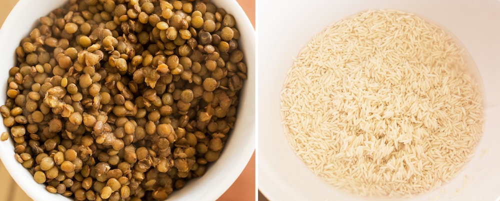 Left:Cooked lentils.  Right: Soaked rice, ready for cooking