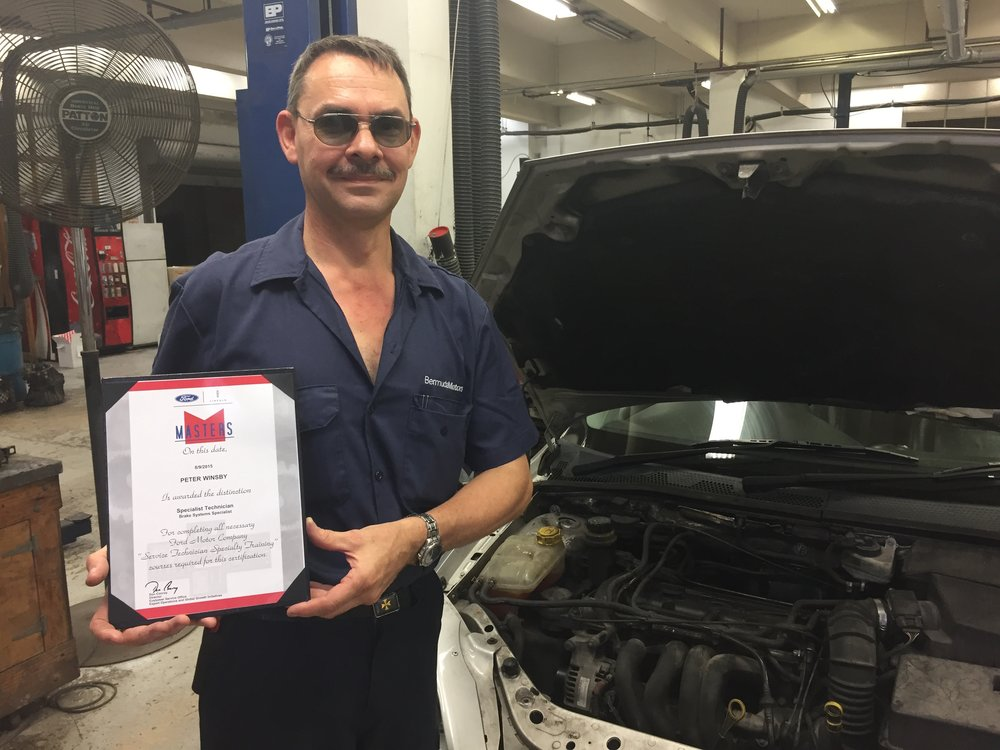 Peter Winsby with one of his hard-earned STARS Masters certificates from Ford Motors