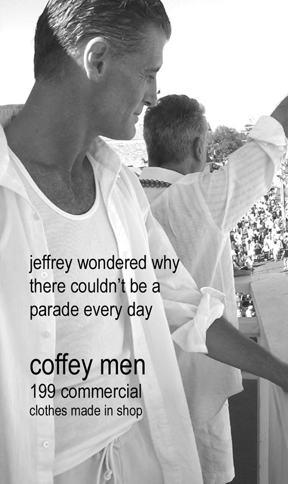 "We were all too tired to go downstairs and shoot an ad in the middle of the carnival that year.... so we improvised  on the balcony...and it ended up being one of my favorites ""Jeffrey wondered why there couldn't be a parade every day""."
