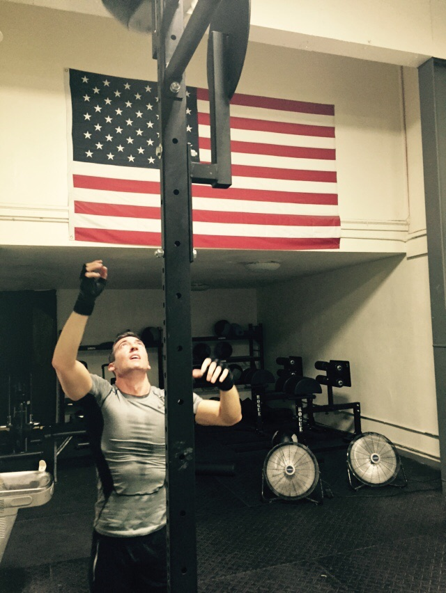 Matt crushing them wall balls with that beautiful American flag in the background!