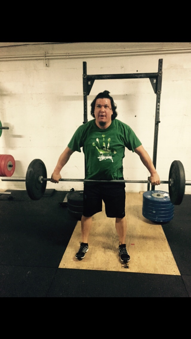 Mario with his game face on during the WOD. When in doubt you can probably find him at Barbell Club!
