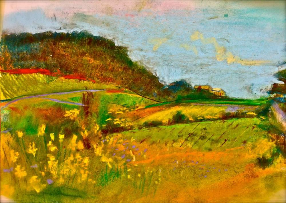 "'Roujan, France', pastel, 11"" x 14"""