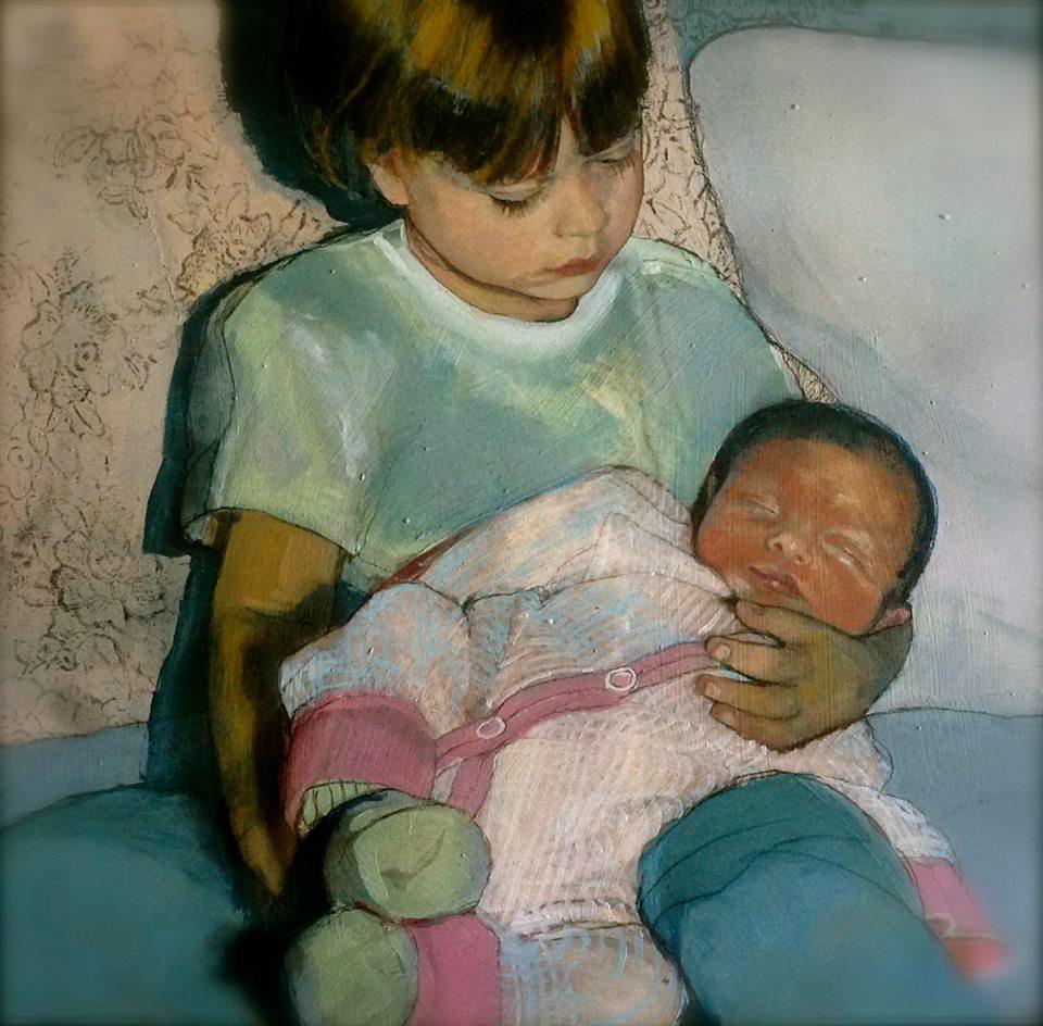 "'Newborn Isabel' 'Abigail Holding Isabel' , oil, 24"" x 36"""