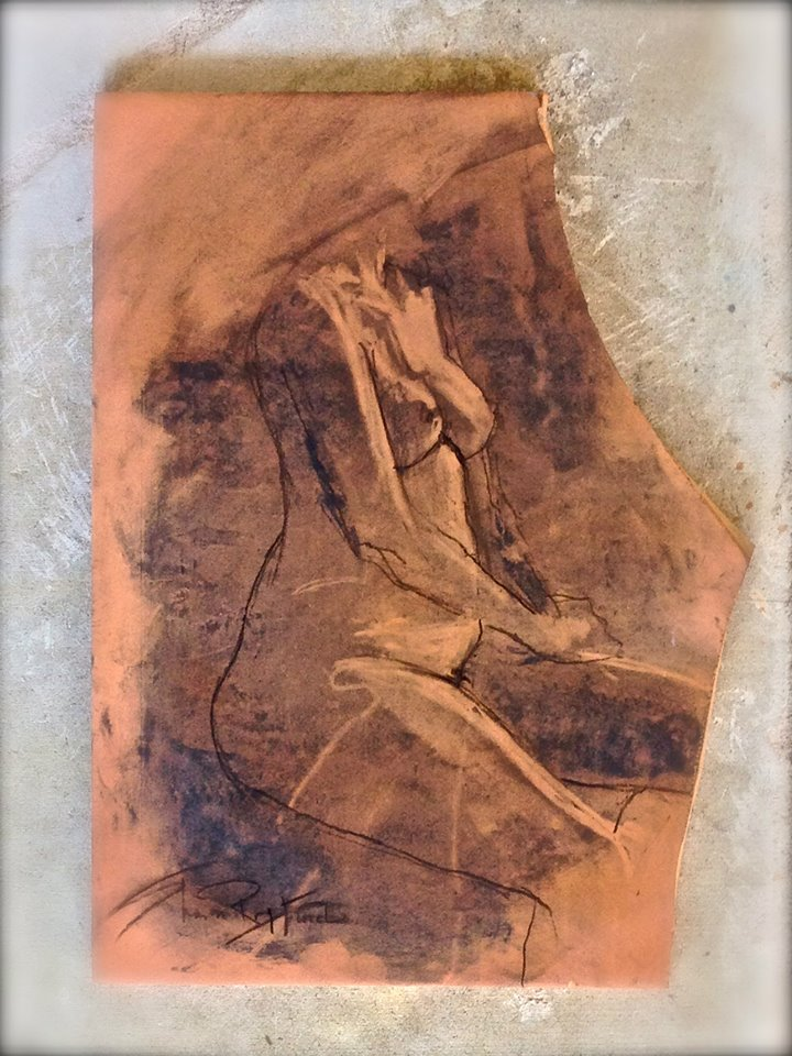 "'Right Seated Figure' charcoal on saltillo tile , 12""x 7"""