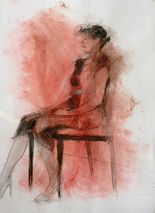 "'Red Seated Figure' pastel on paper, 11"" x 14"""