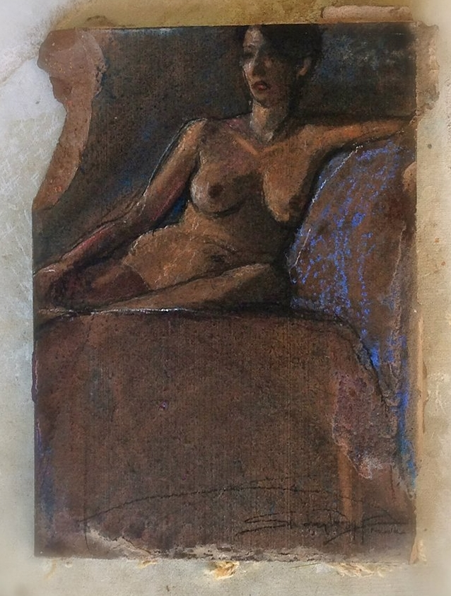 "'Left Seated Figure' charcoal and pastel on dark saltillo tile , 12""x 7"""