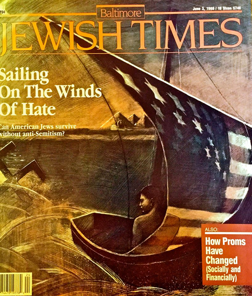 """'Winds of Hate' Baltimore Jewish Times, oil, 18 x24"""""""