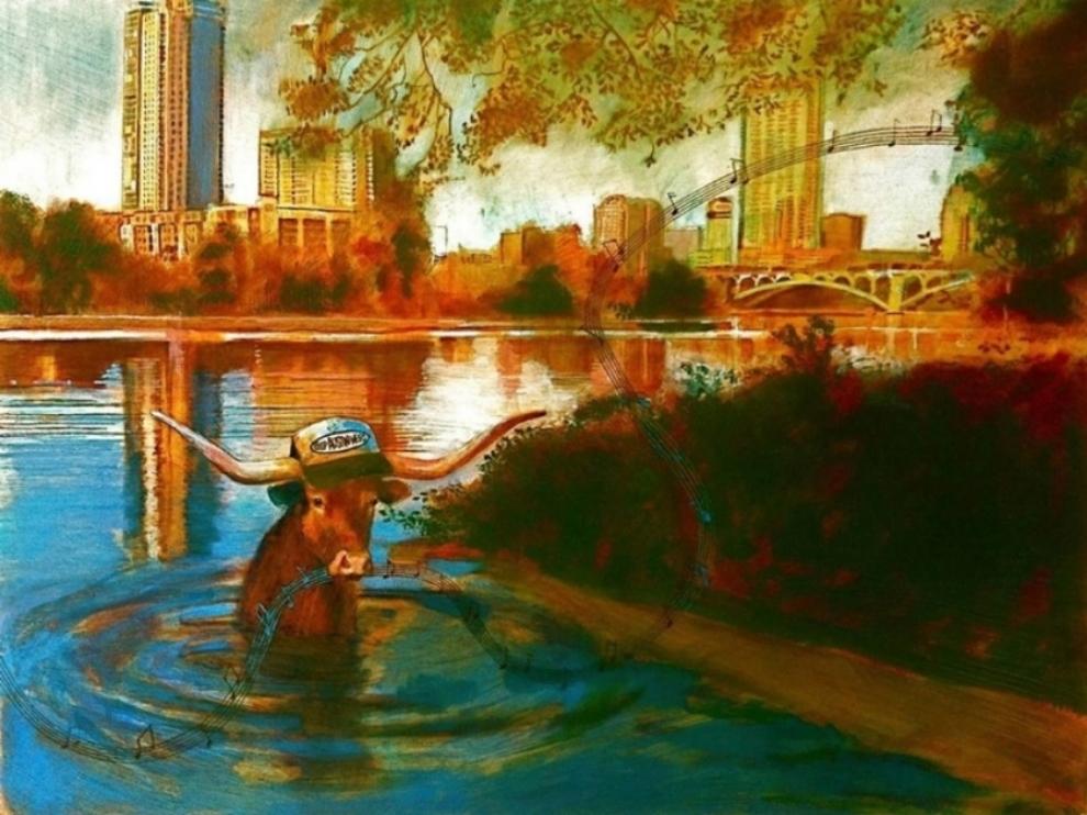 """'Town Lake' , oil, 18"""" x 24"""""""