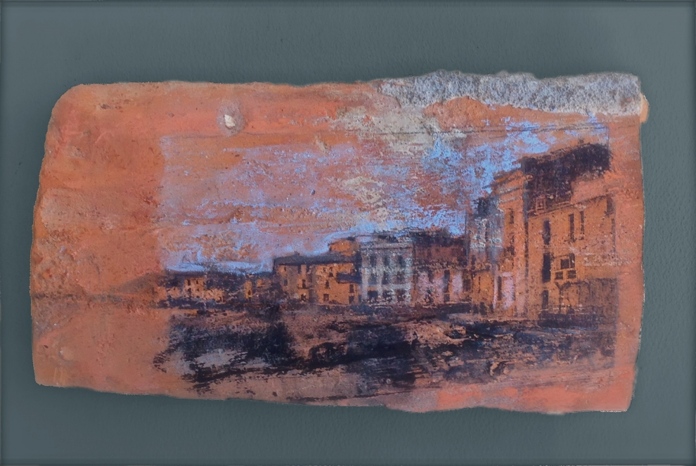 "'Cadaques ll', mixed medium on roof tile, 3"" x 7"""