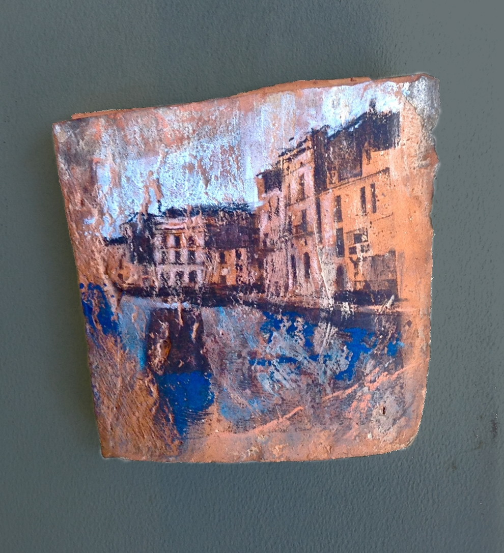"'Cadaques l', mixed medium on roof tile, 5"" x 6"""