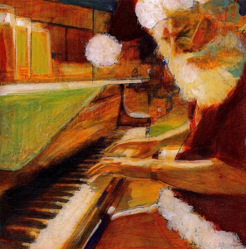 "'Santa Pianist', oil, 12"" x 12"""