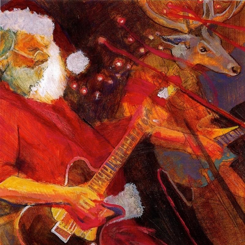 """'Santa Guitarist', oil, 12"""" x 12"""""""