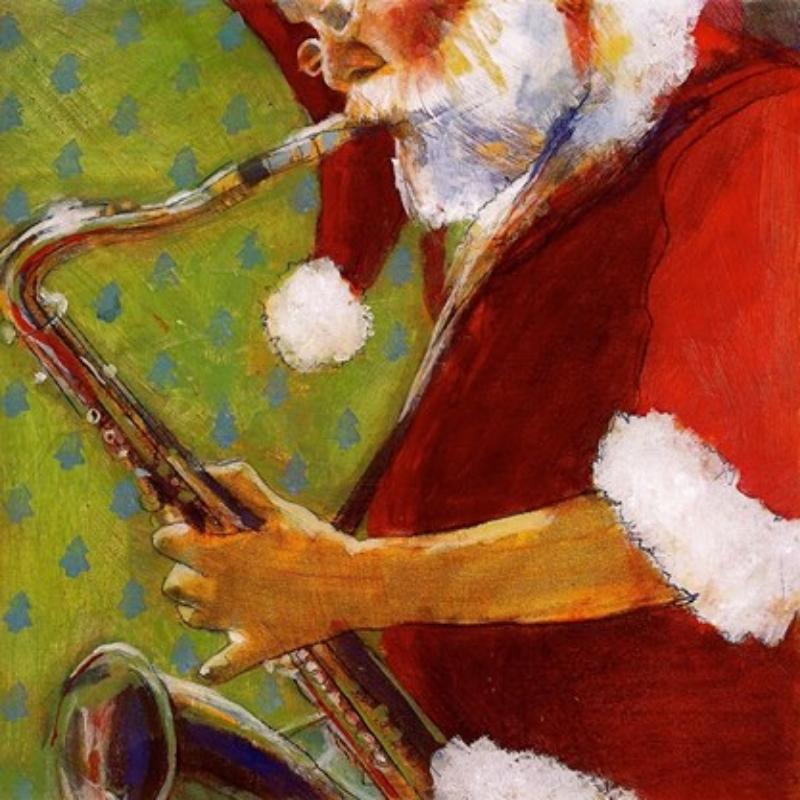 "'Santa Saxophonist', oil, 12"" x 12"""
