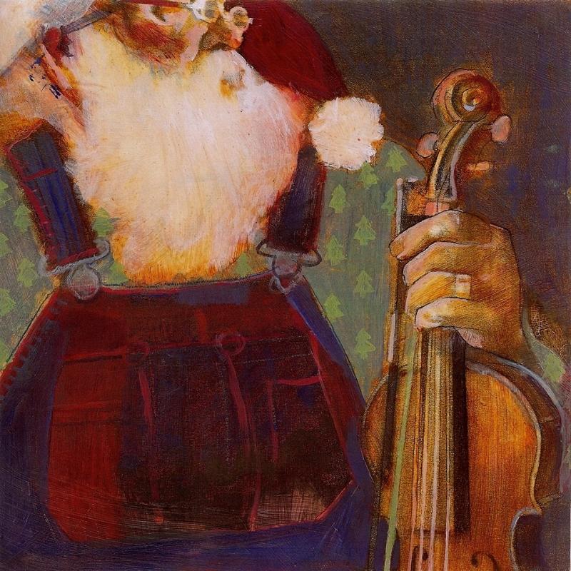 """'Santa Fiddler', oil, 12"""" x 12"""""""""""
