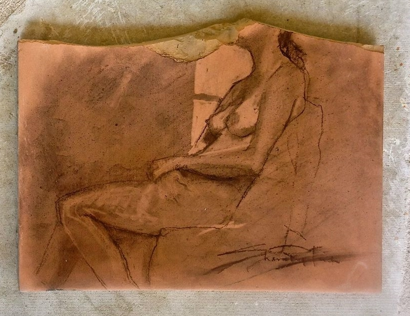 "'Seated Figure' charcoal on saltillo tile , 12"" x 16"""