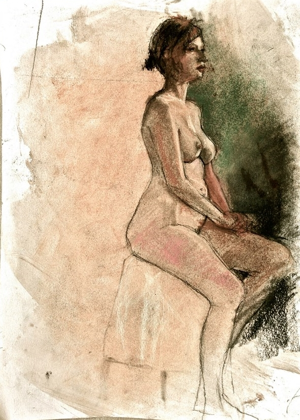 "'Right Seated Figure' pastel on paper, 11"" x 14"""