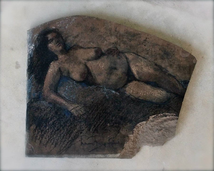 "'Reclining Figure' charcoal and pastel on dark saltillo tile , 8""x 4"""
