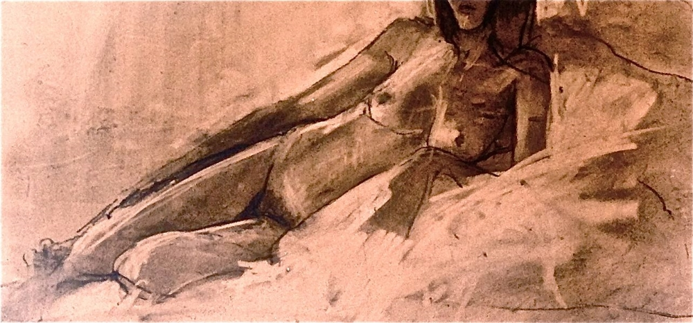 "'Reclining Figure' charcoal on saltillo tile , 12""x 4"""