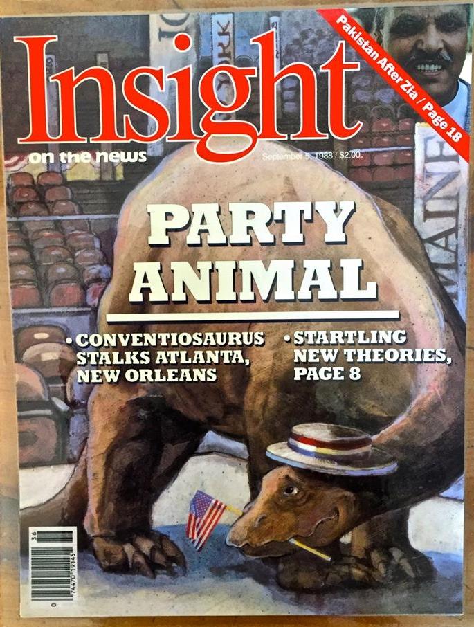 "'Party Animal' Insight Magazine, mixed medium, 11"" x14"""