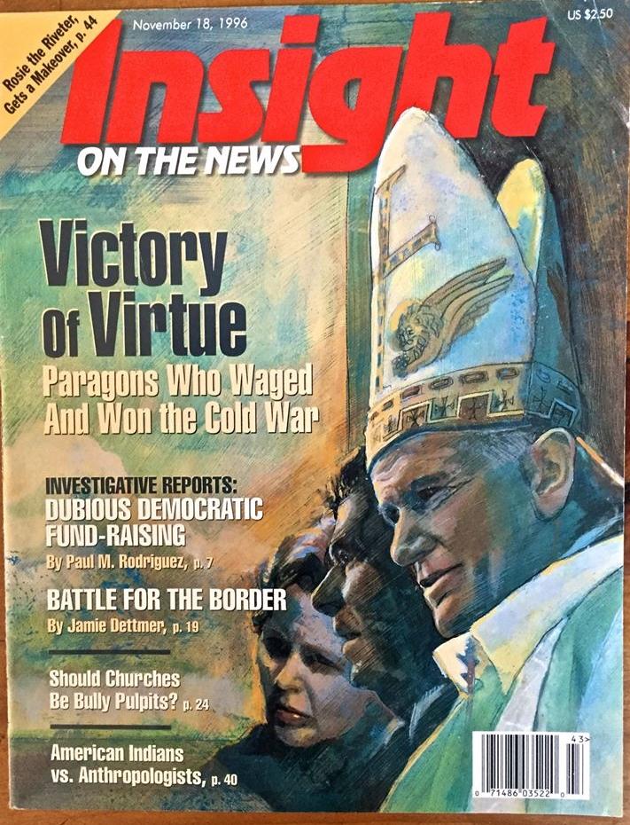"'Victory of Virtue' Insight Magazine, mixed medium, 11"" x14"""