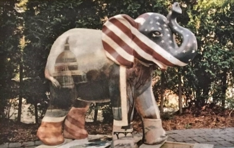 'Monumental Washington', Party Animals, mixed medium, life sized