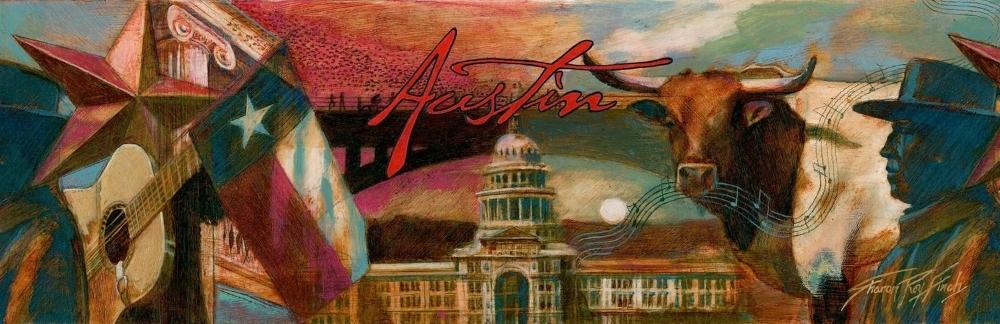"""'Austin Water bottle Label' Austin Convention and Visitors Bureau, oil, 12"""" x40"""""""