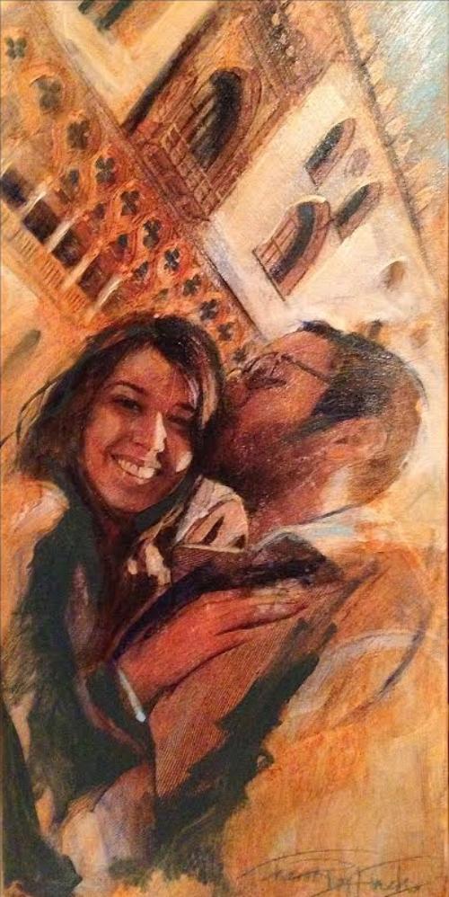 "'Kara & Giampiero', oil and mixed medium, 12"" x 20"""
