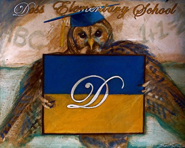 'Doss Owl' Doss Elementary School, mixed medium, 4' x 6'