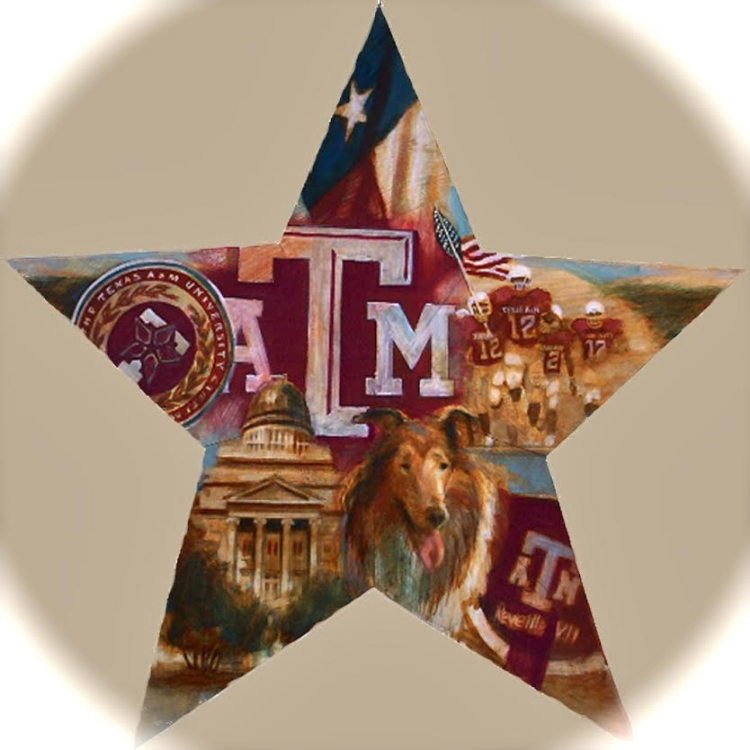 "'A&M Star,  available as 6"" ornament, or 12"",18"",30"" Barn Star"