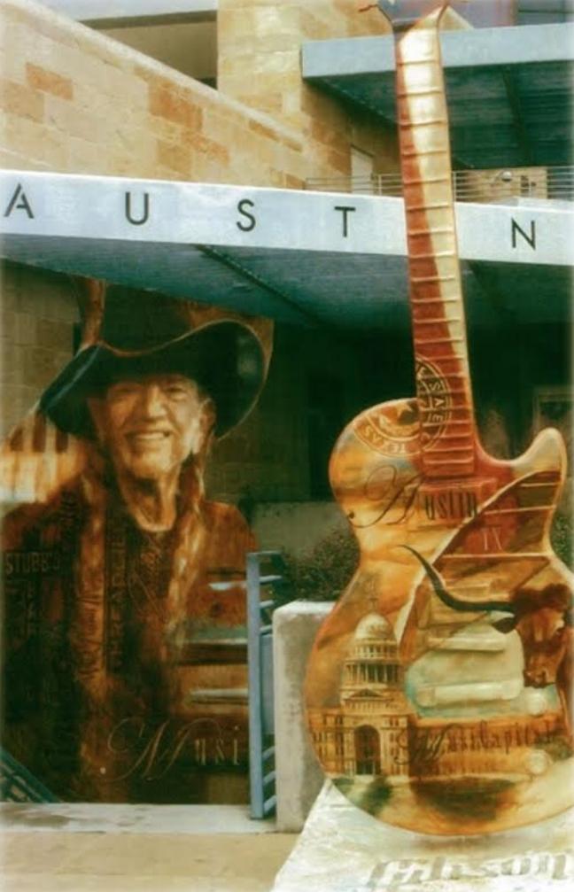 'MusiCapital' GuitarTown Austin, mixed medium, life sized