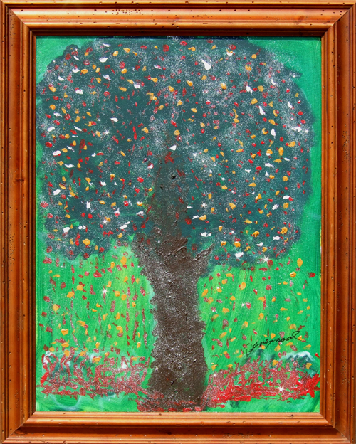 "Tree Full of Life   Canvas Size: 18""w x 24""h  Framed Size: 22""w x 28 1/2""h  Acrylic and glitter on canvas"