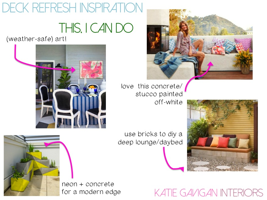 art on jenny komenda's porch   /   deep seat   /   neon planters   /   cinder block bench