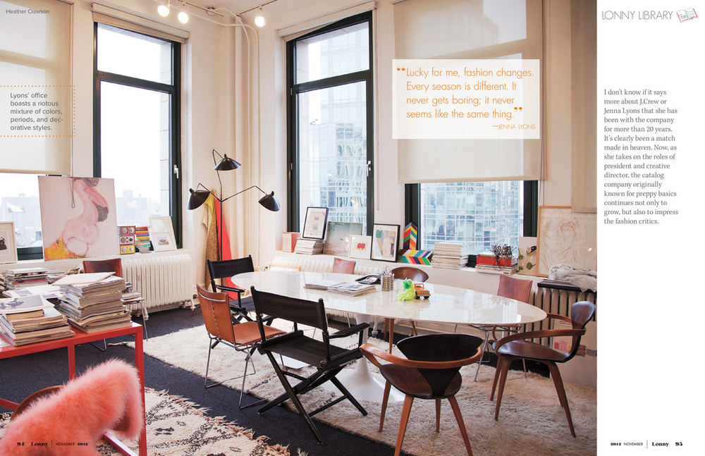 leggy furniture in jenna lyons' office, via lonny