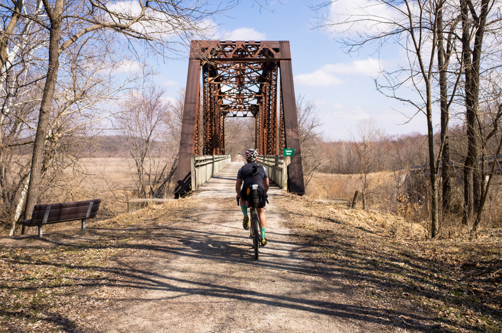 You cross some very old bridges on the Katy Trail, but they have really harsh ramps up onto them, I'm glad  JP  got some shots while I was busy trying to use the ramps to catch air on a loaded touring bike!