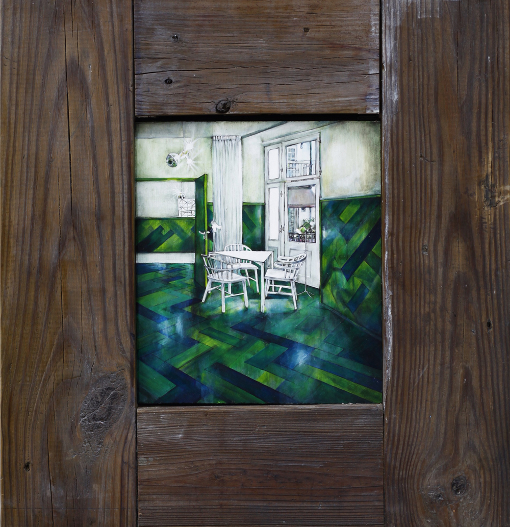"Verde , 2012. Oil on wood. 16.75"" x 15.25"""