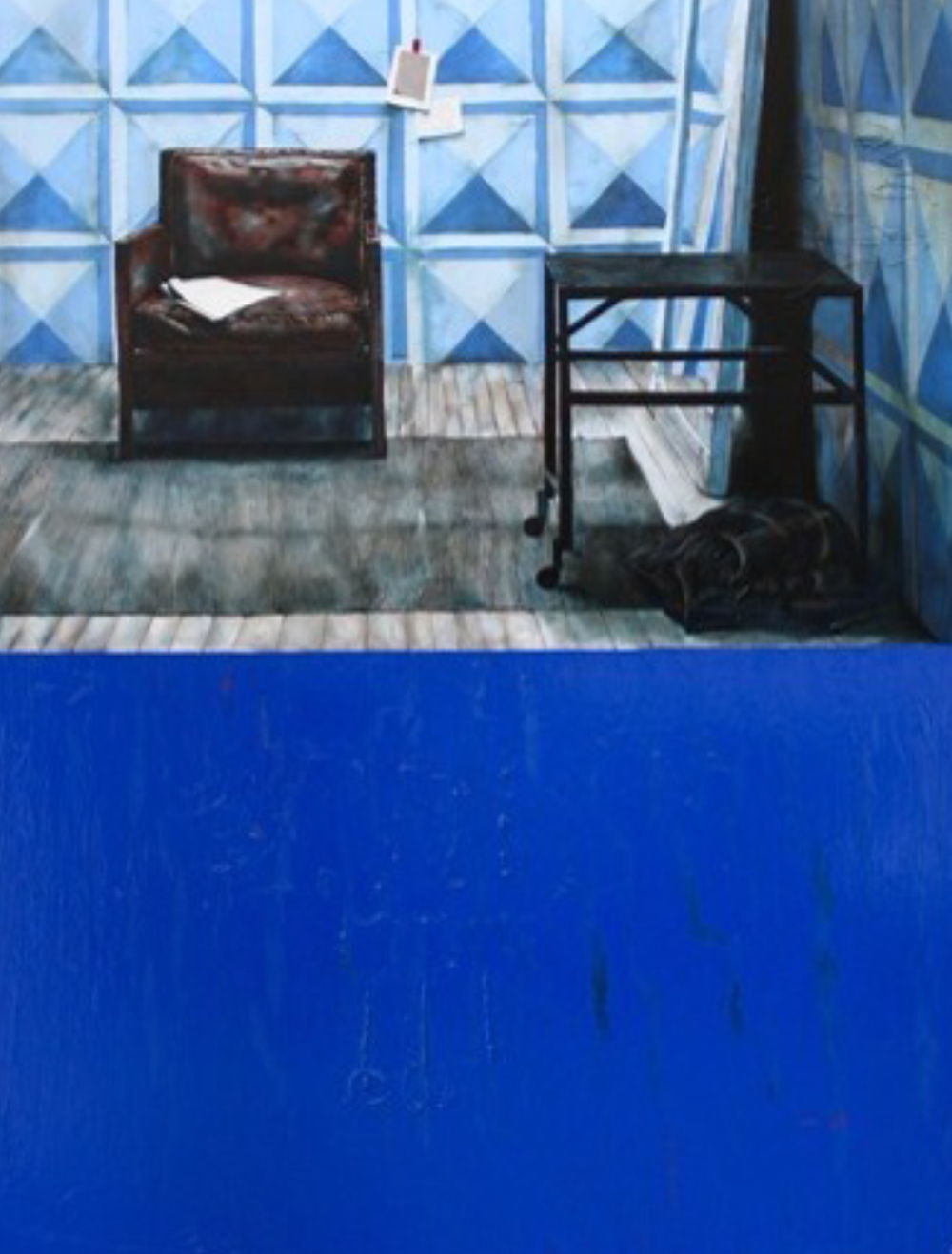 "Blue Chair , 2012. Oil on Canvas, 48"" x 60"""