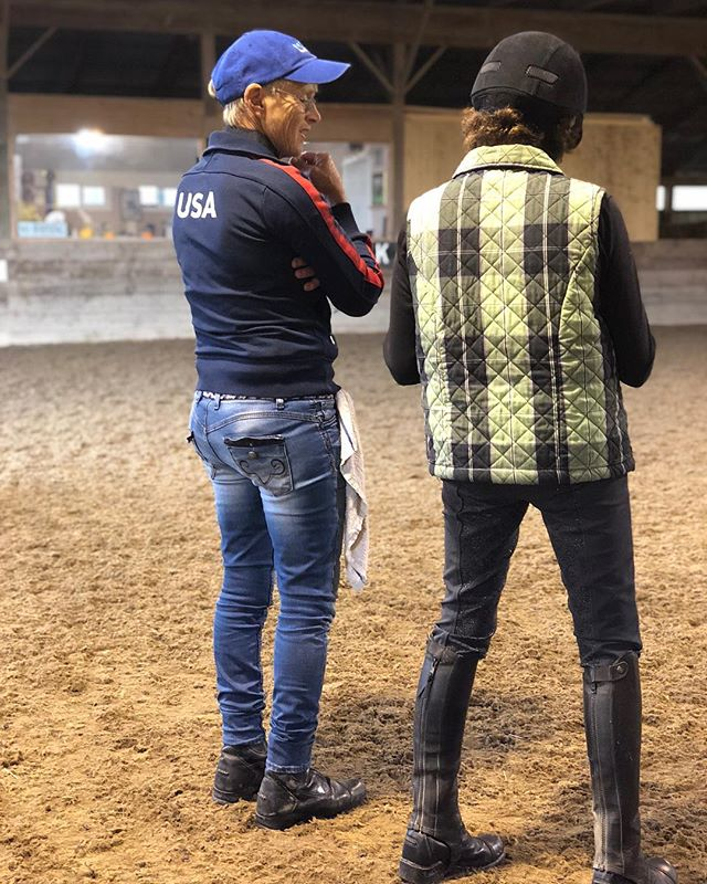 We put this picture on Twitter earlier, but it's a great one! Florence Wetzel and Kim Morse watching Sarah try Kim's horse in a Neue Schule-Pete loved it! Join us tomorrow (Saturday 11/3) to watch and learn more about bit fitting-we start rides at 8 am!