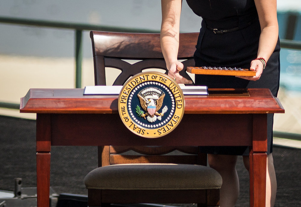 The proclamation and presidential pens are placed on stage before President Barack Obama designates part of the San Gabriel Mountains as a national monument, October 10, 2014.