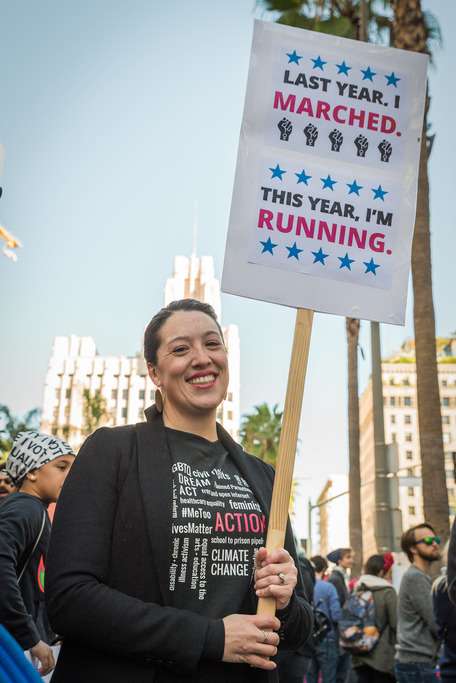 (2018) The second Women's March's signs reflect the conversations among the marchers: Some are running for office, some are supporting others' campaigns and some will vote for the first time in the coming elections.