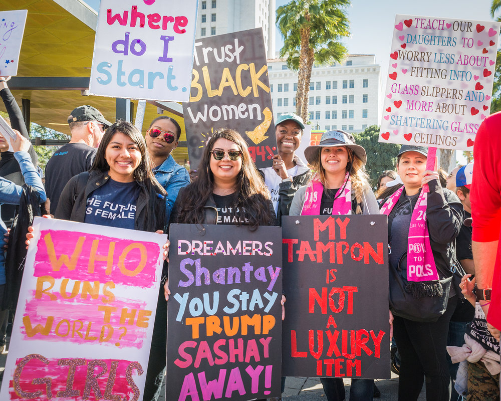 "(2018) Marchers cite specific reasons for marching. People of color, ""white feminism,"" Dreamers, reproductive rights, equal opportunities, any and all issues that women felt strongly about are seen and heard."