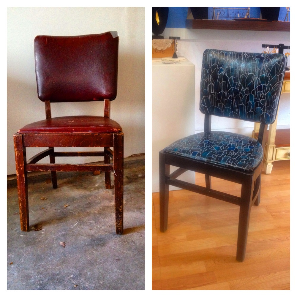Not a bad transformation for a little elbow grease and paint, eh? You can see it in person on April 17th at the Left Bank Annex in Portland on the Artist's Night or buy a ticket and attend the main event on April, 18th. You can also see my chair from 2013 here.