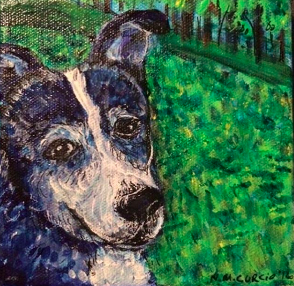 This here is Dex the Dog, the longtime companion of a friend of mine. Dex left us last year, for that big dog park in the sky. I had seen this photo of him on Facebook and made a fast painting while I was in Mexico.