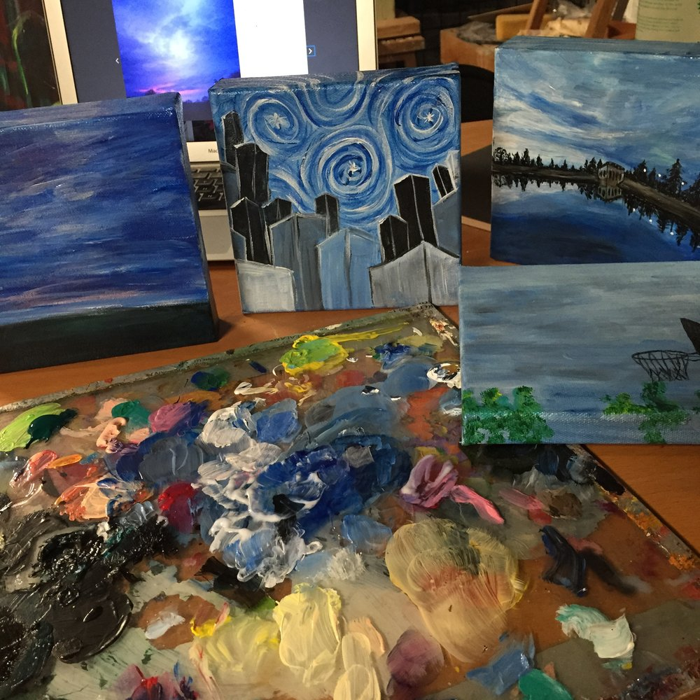 The first painting on the left is the starting point for the finished photo below. You can see the photo I was working from in the background.