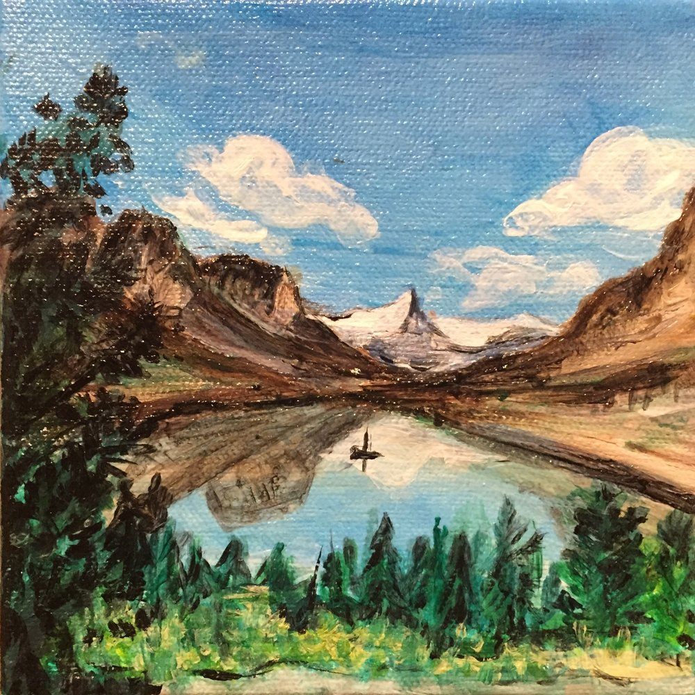 "6"" x 6"" Acrylic on Canvas- Glacier National Park"