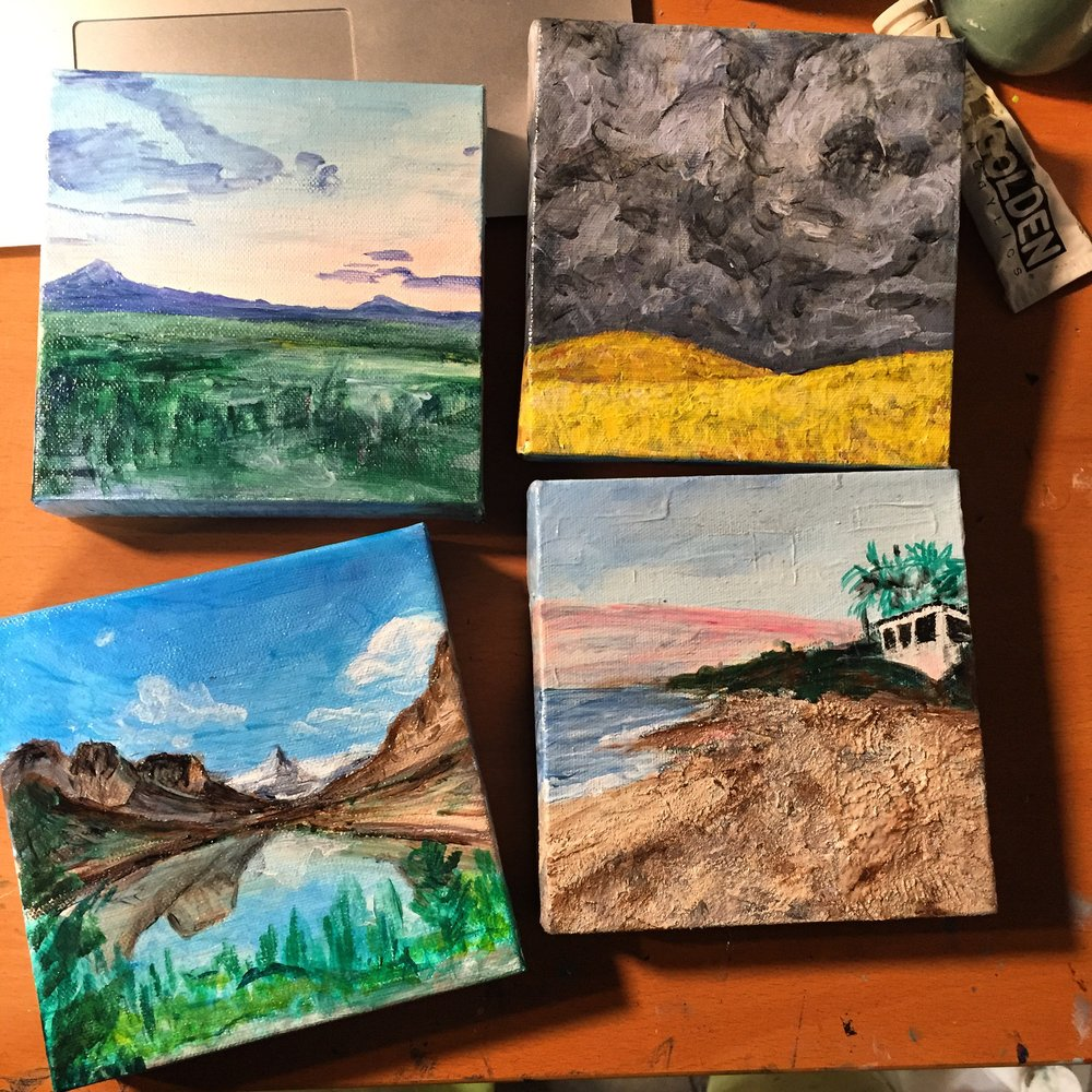 These are the other paintings in process at the moment. from the top left: Mountain views from a B&B in Washington, stormy skies at sunset from the same trip to Washington, The Glacier painting, and a sunrise walk in   Sayulita, Nayarit, Mexico   (one of my favorite places).